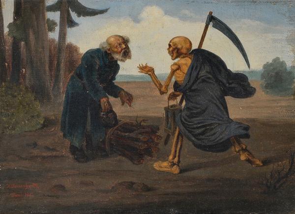 le paysan et la mort huile sur toile