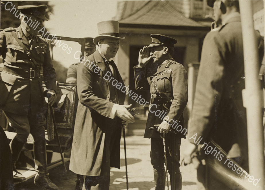 Three quarter length photograph of WSC [Secretary of State for War]
