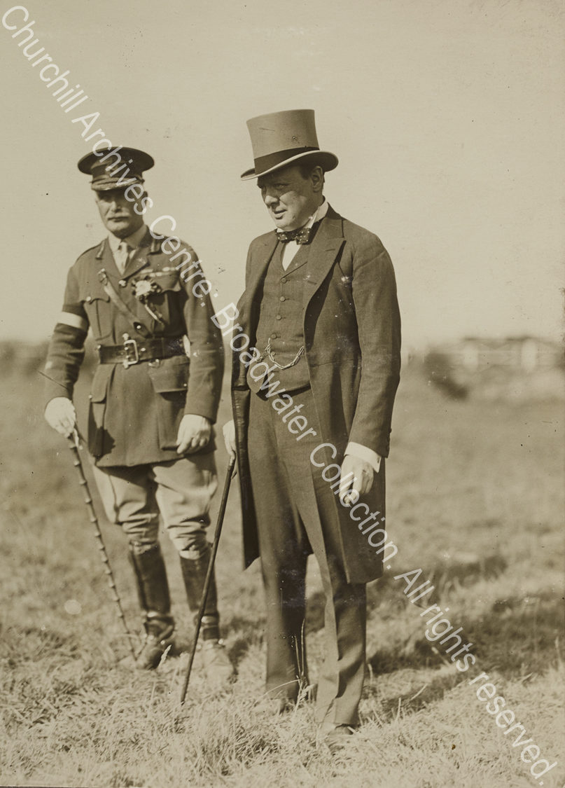 Full length photograph of WSC [Secretary of State for War]