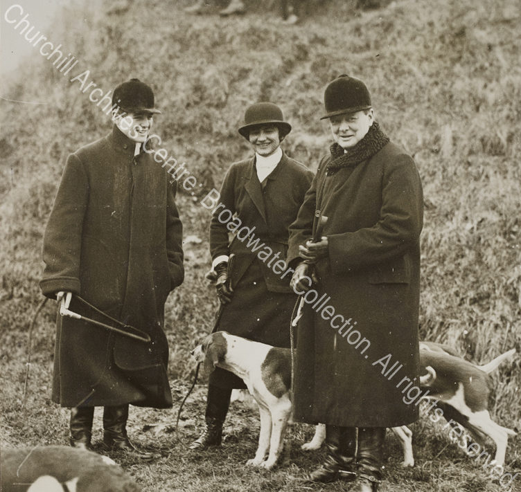 """Photograph of WSC with Randolph Churchill and [Gabrielle] """"Coco"""" Chanel in [? Dampierre"""