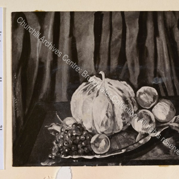 Photograph of a painting by WSC of a still life of fruit on a platter.