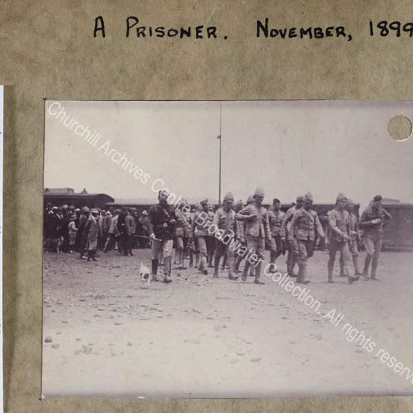 Photograph of WSC with other prisoners during the Boer War in [Pretoria