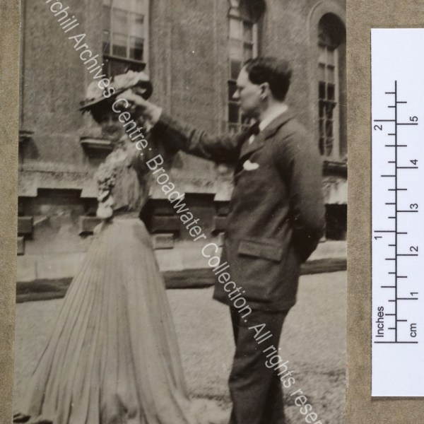 Full-length photograph of WSC with the Duchess [earlier Consuelo Vanderbilt