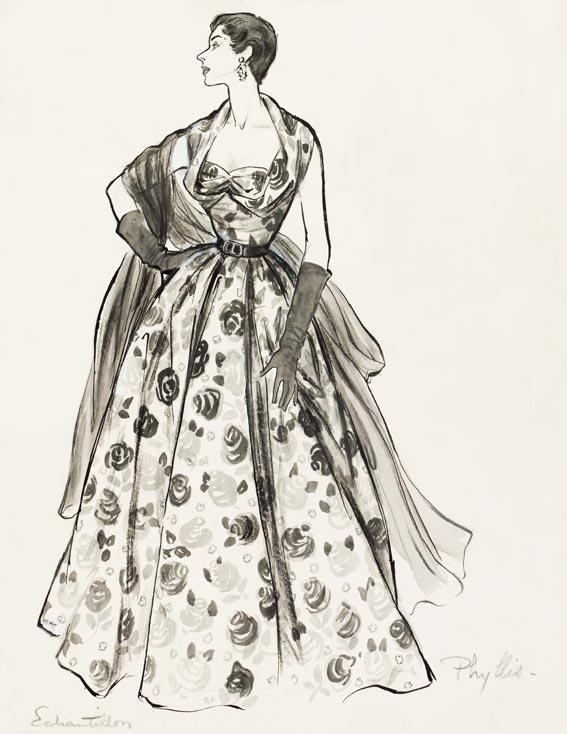 Phyllis Taylor Evening Gown Fashion Illustration Custom