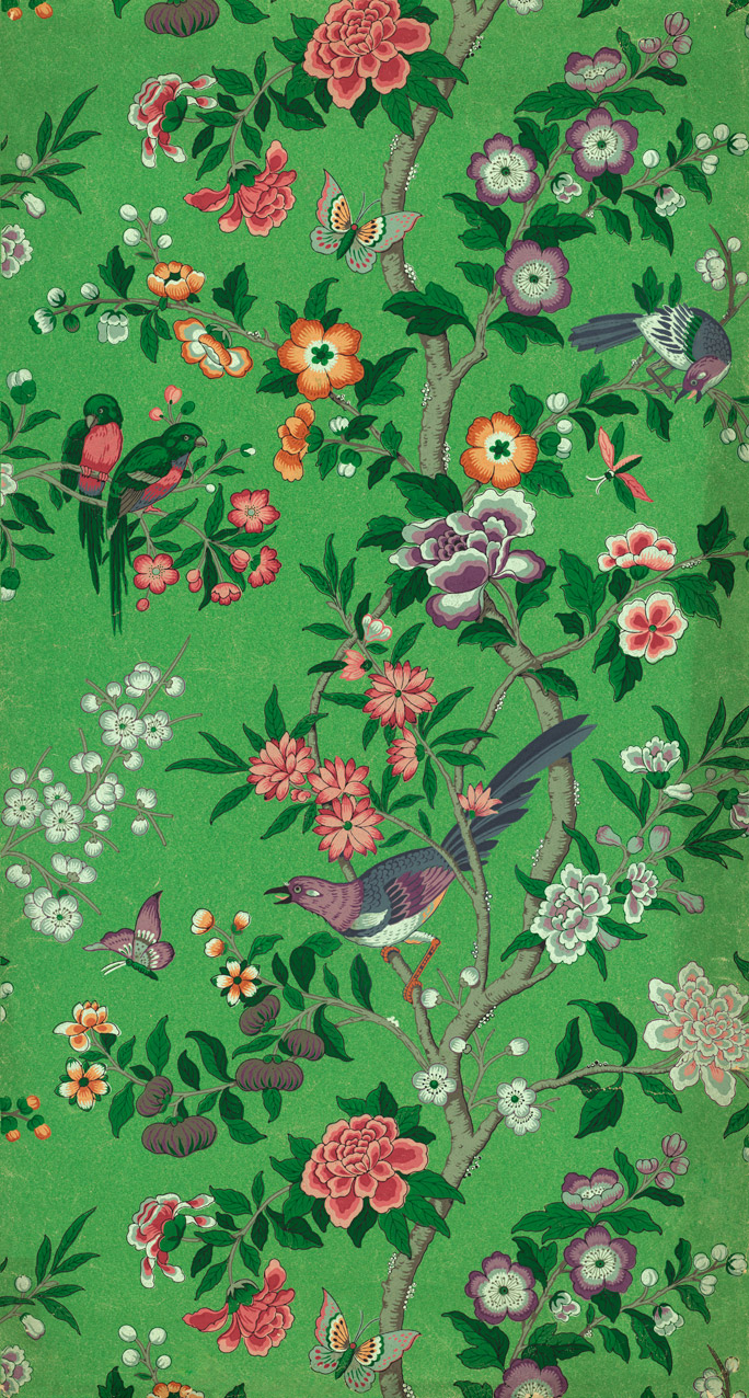 Chinese Magpie Wallpaper On Green Background Custom Print