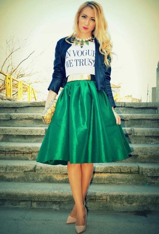 ClioMakeUp-modi-indossare-tshirt-stile-gonna-ruota-verde