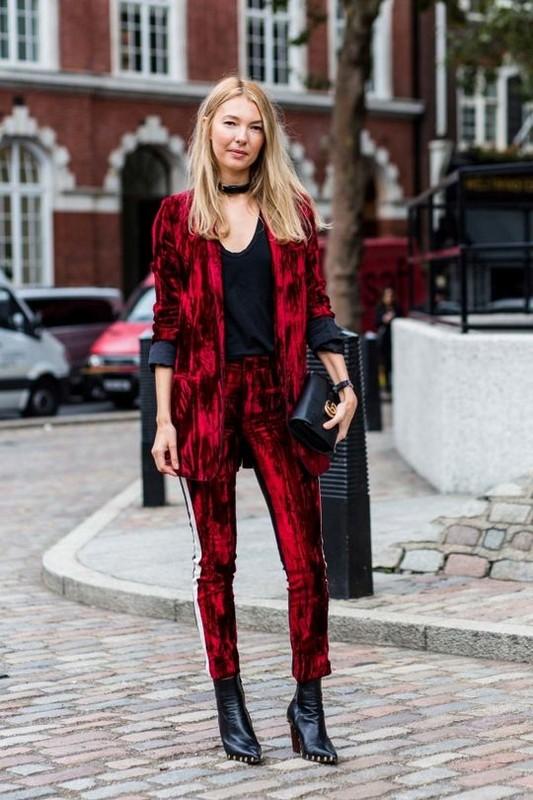 ClioMakeUp-street-style-fashion-week-londra-completo-velvet