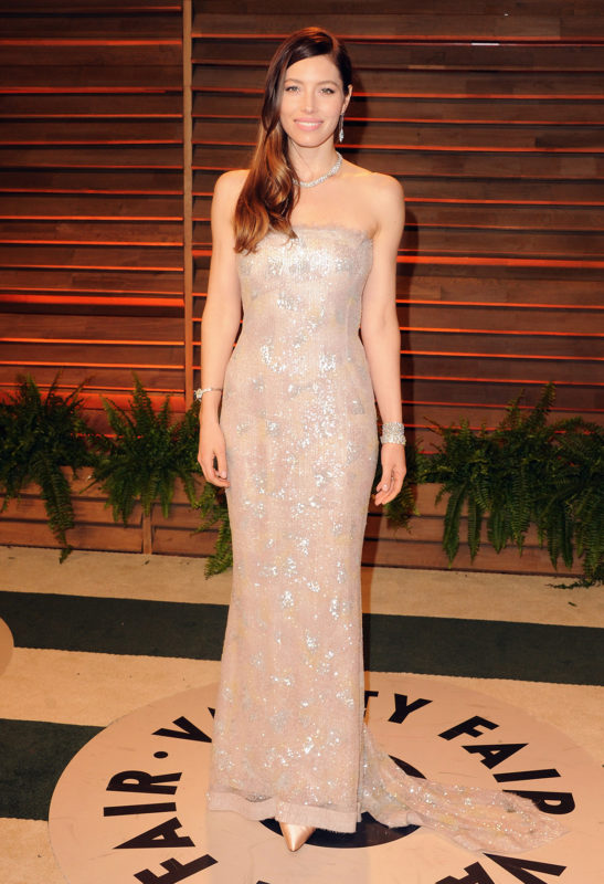 WEST HOLLYWOOD, CA - MARCH 03: Actress Jessica Biel arrives at the 2014 Vanity Fair Oscar Party Hosted By Graydon Carter on March 3, 2014 in West Hollywood, California. (Photo by Jon Kopaloff/FilmMagic)