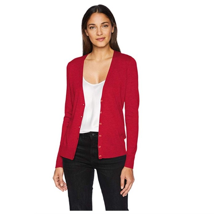 cliomakeup-copiare-look-zooey-dechanel-10-cardigan-rosso