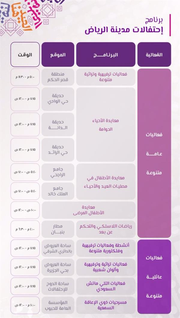 أخبار 24 بالتفاصيل فعاليات عيد الفطر في مدينة الرياض