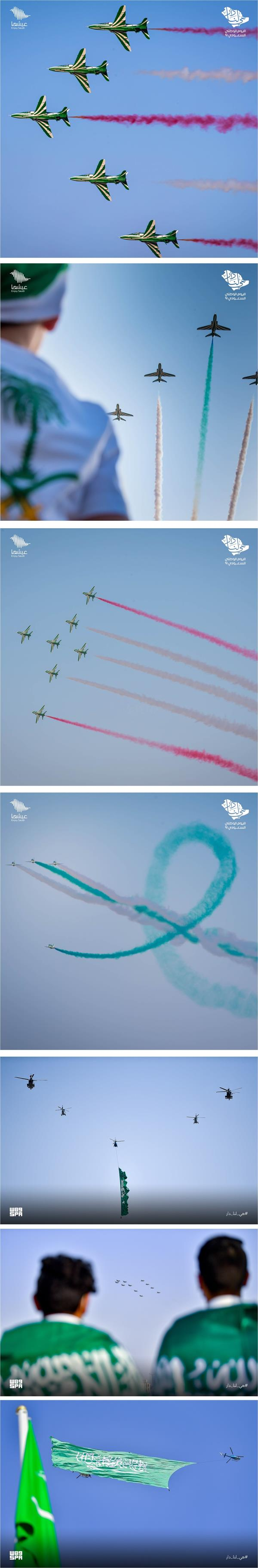 Pictures from the air shows in the sky of the Kingdom on the occasion of the National Day