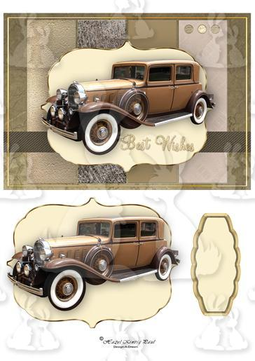 Vintage Car Card Amp Decoupage