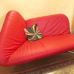 Set 2 Reclining Sofa Beds Papillon Leather Red Bonaldo Deesup