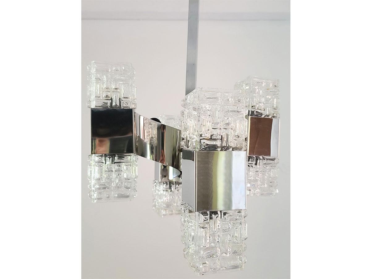 Lampadario anni 70 a 6 luci acciaio e vetro vintage. Lampadario Vintage Anni 60 In Vetro E Acciaio Cromato 8 Luci Deesup