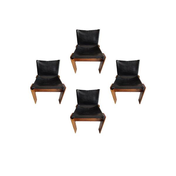 Strutura in legno di faggio curvato e seduta rivestita in similpelle.produzione: Set 4 Sedie Vintage In Legno Noce E Pelle Nero Anni 70 Deesup