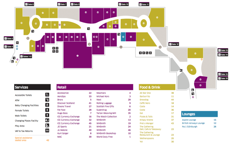 Airport shops map