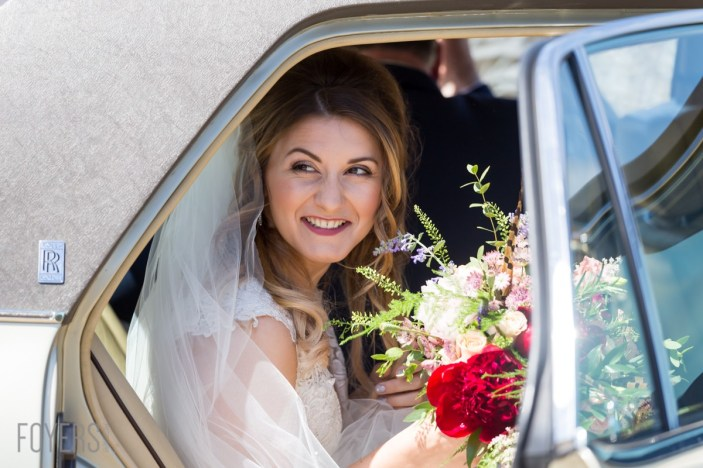 Ally and her father, Arthur, arrived at the church in her grandfather's majestic Rolls-Royce Silver Spirit.