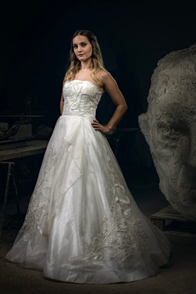 Silk organza dress with hand beading and appliqué Martin Dobson Luxury bridal wear designer