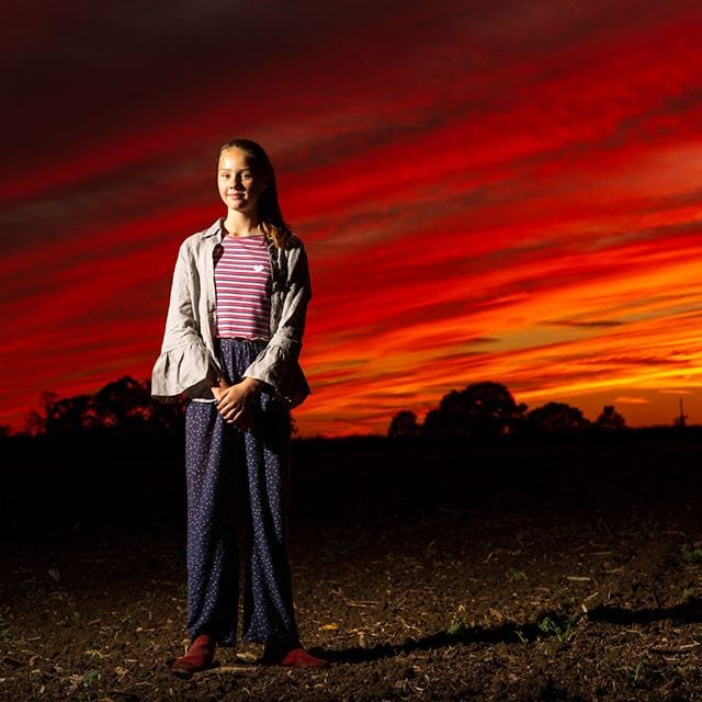 When you come home from a photoshoot in the studio and you are presented with an amazing sunset, jump out the car, use the chaperone as a VAL (voice activated light stand) and tak e portrait of the wonderfull Bella