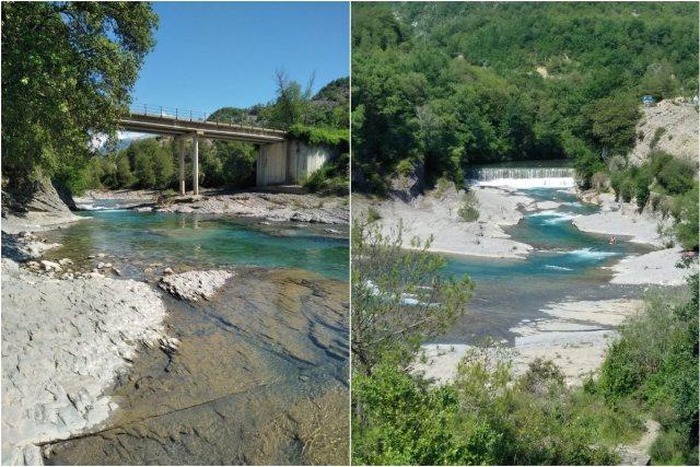 El río Bellos se desmelena cuando entra en la tranquilidad del valle de Puyarruego. Foto: Ayuntamiento de Puértolas