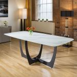 Modern Large 10 Seater White Glass Marble Effect Dining Table 2 2 X 1m Ebay