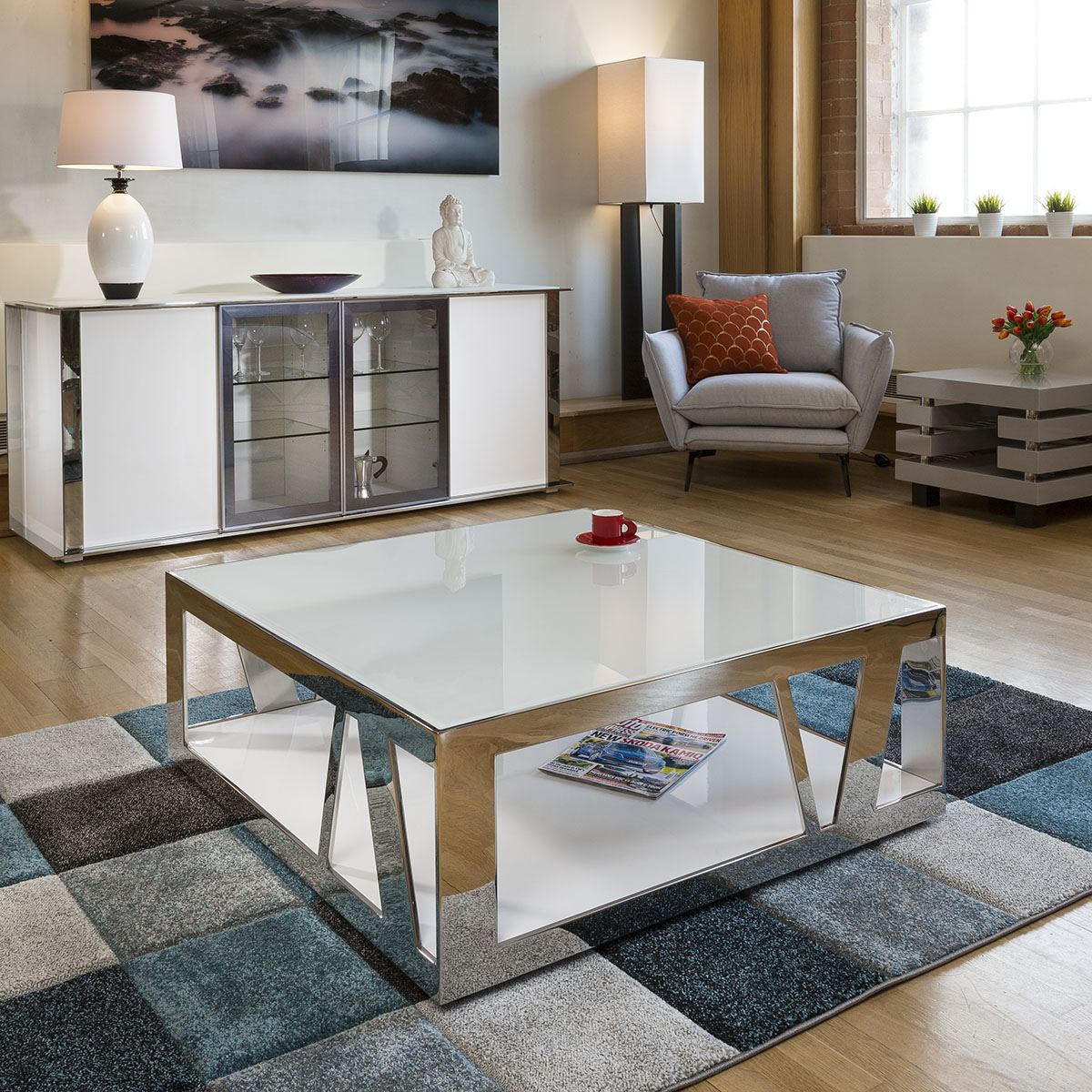 details about modern luxury large square white coffee table glass stainless steel v
