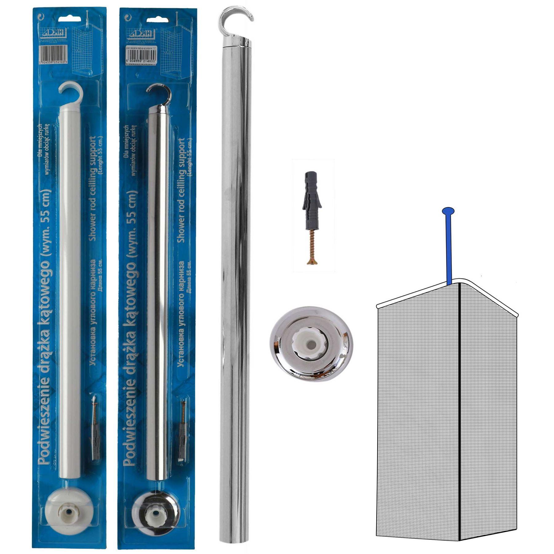 Details About Shower Curtain Rail Ceiling Support 55cm Length Corner Rail Rod Bath Pole