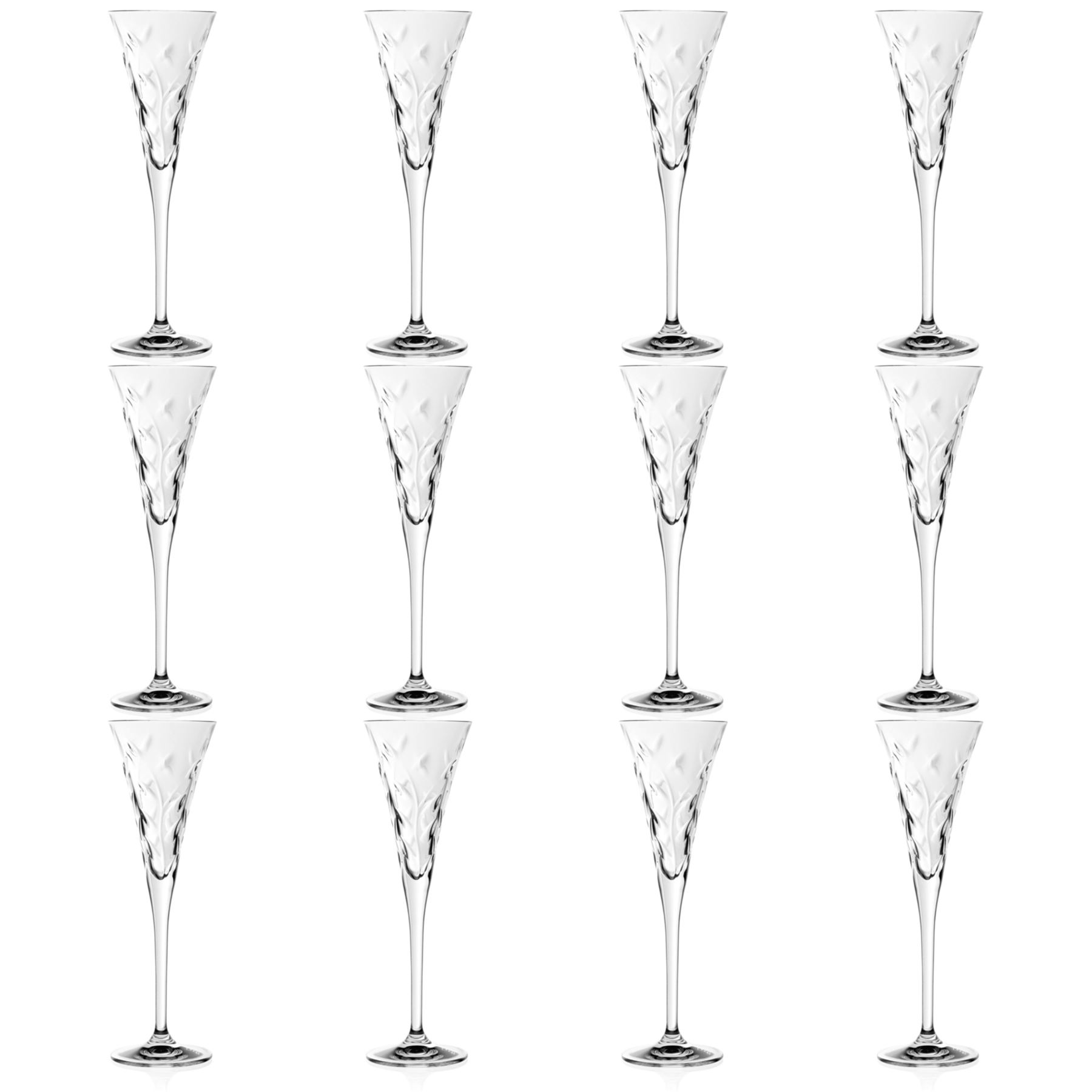 12x Laurus Cut Glas Champagner Floten