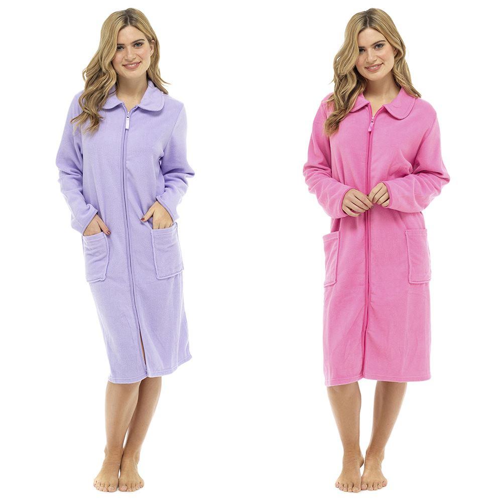 Femmes Fermeture Eclair Polaire Souple Robe De Chambre Zippe Chambre Avec Ebay