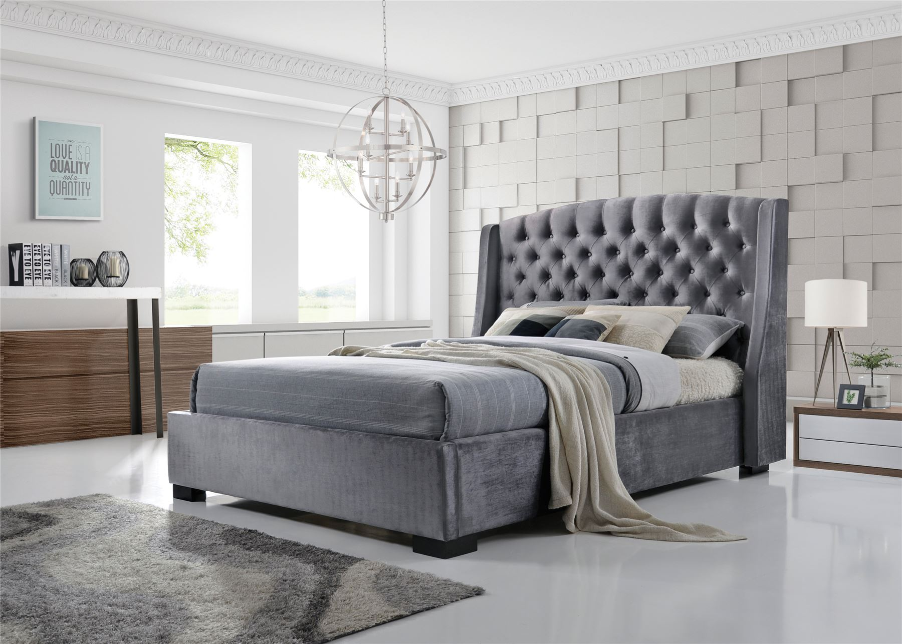 Brando Wing Back Chesterfield King Size Bed Frame 5ft