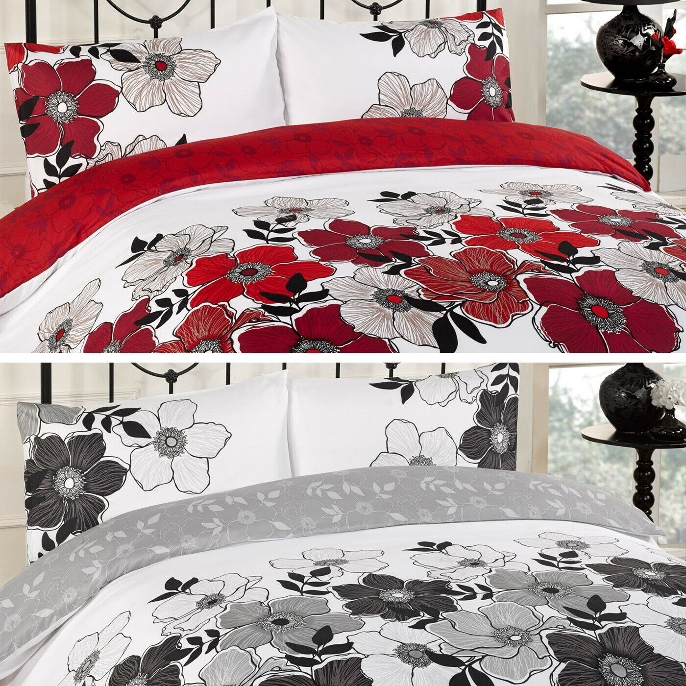 details about duvet cover with pillow case bed set pollyanna red black grey single double king