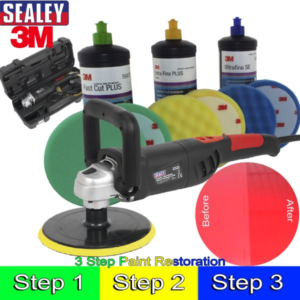 Sealey & 3m Car Body Car Kit Digital Polisher/3M Polish ...