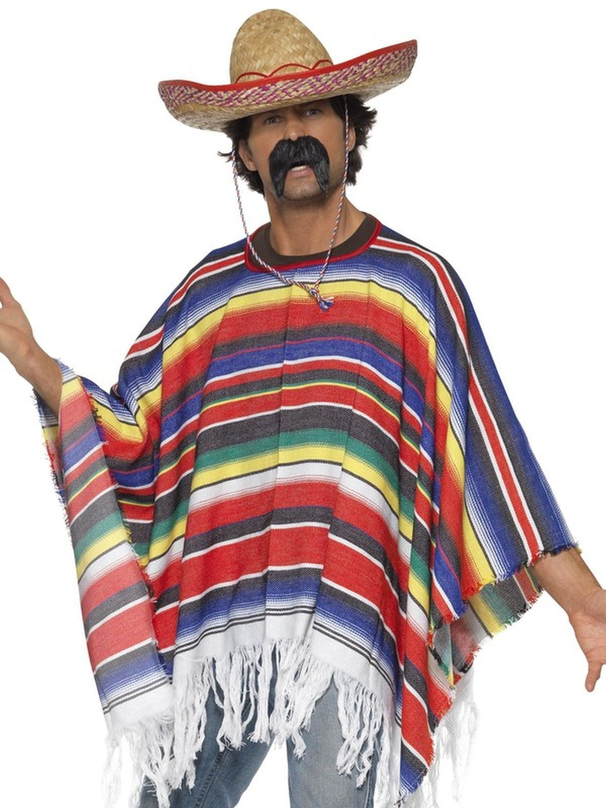 Poncho Wild West Mexican Bandit Mens Adult Fancy Dress