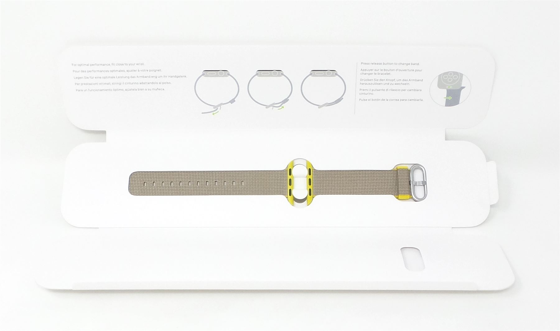 Apple Watch Woven Nylon Band 38mm Yellow Light Gray
