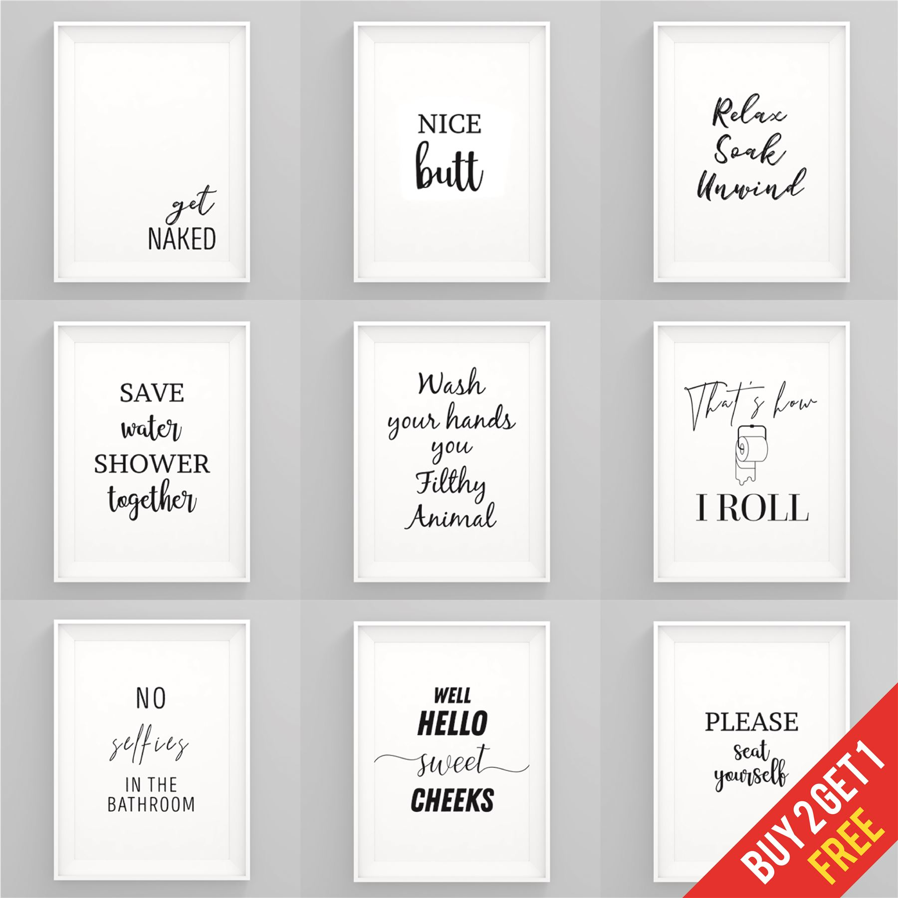Bathroom Prints Black And White Funny Bathroom Wall Art Framed Pictures Toilet Ebay