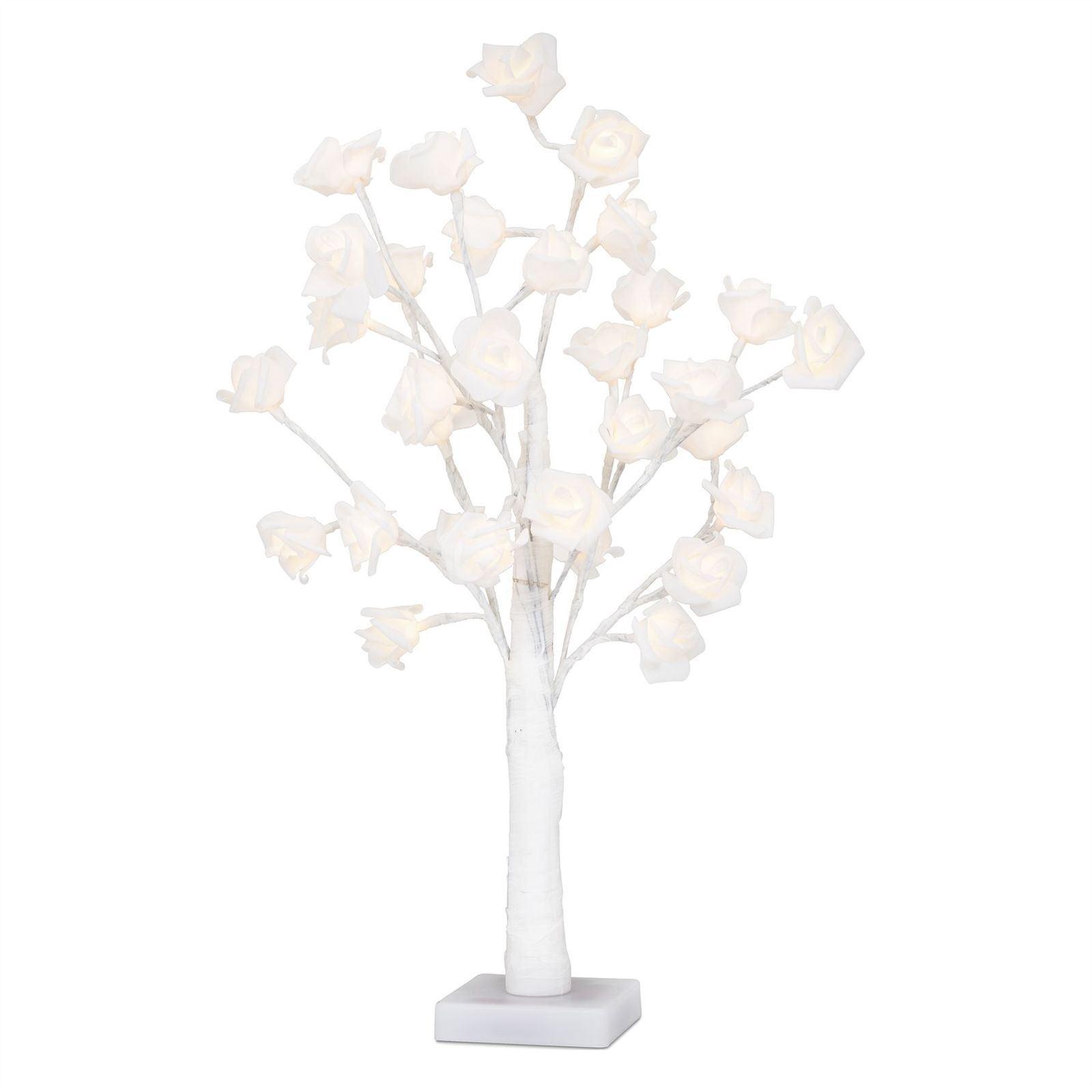 Vinsani 32 Led Artifical White Rose Twig Tree Light