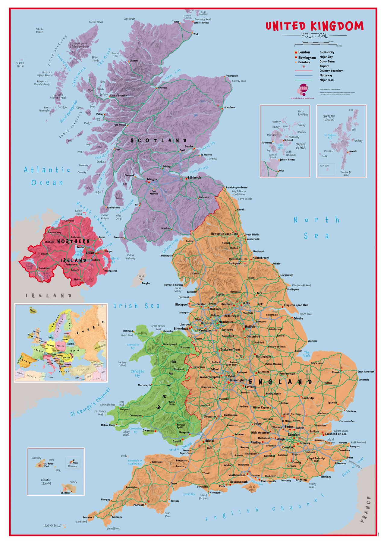 Primary Uk Wall Map Political Poster Print Art Map Choose
