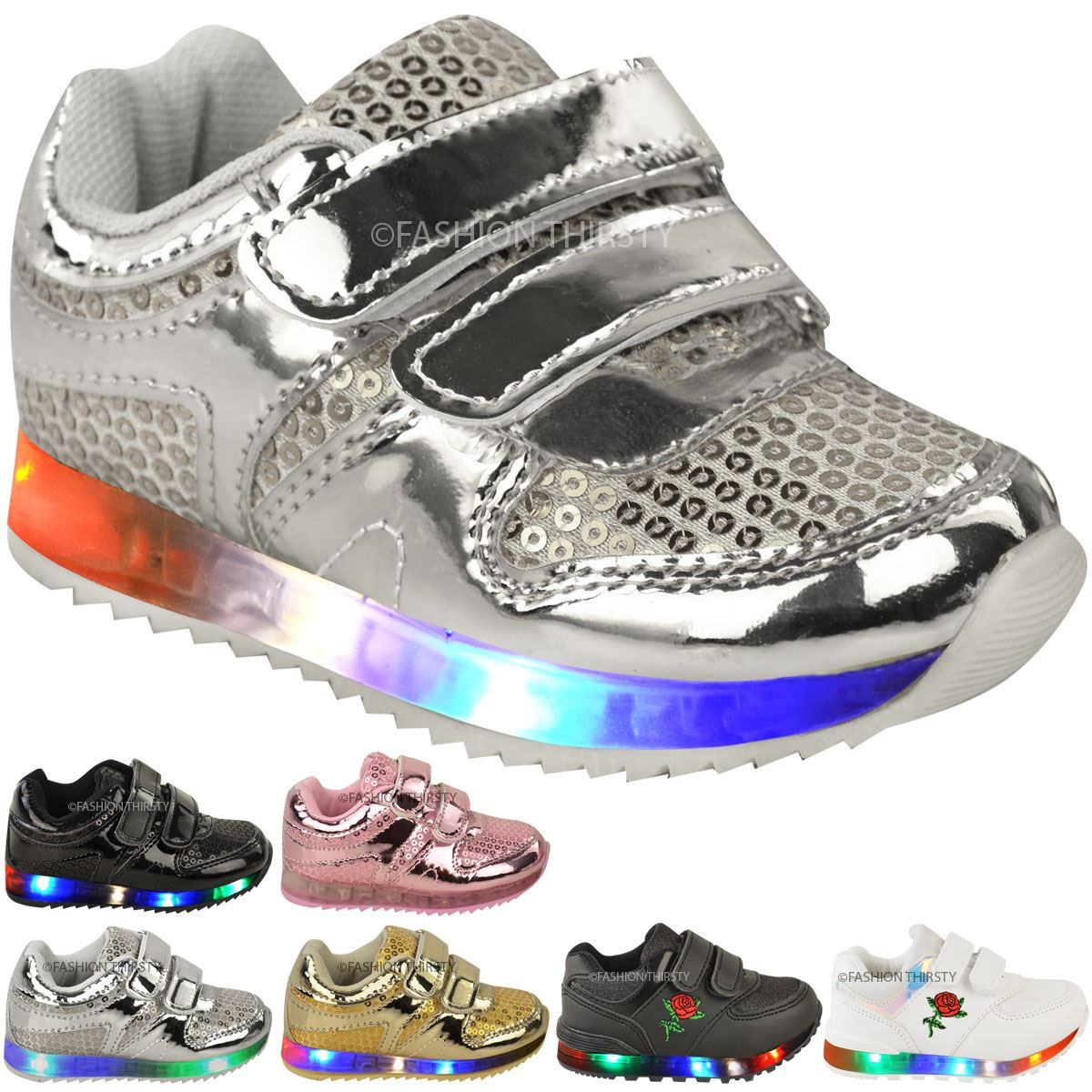 New Girls Kids Babies Led Light Up Trainers Strappy