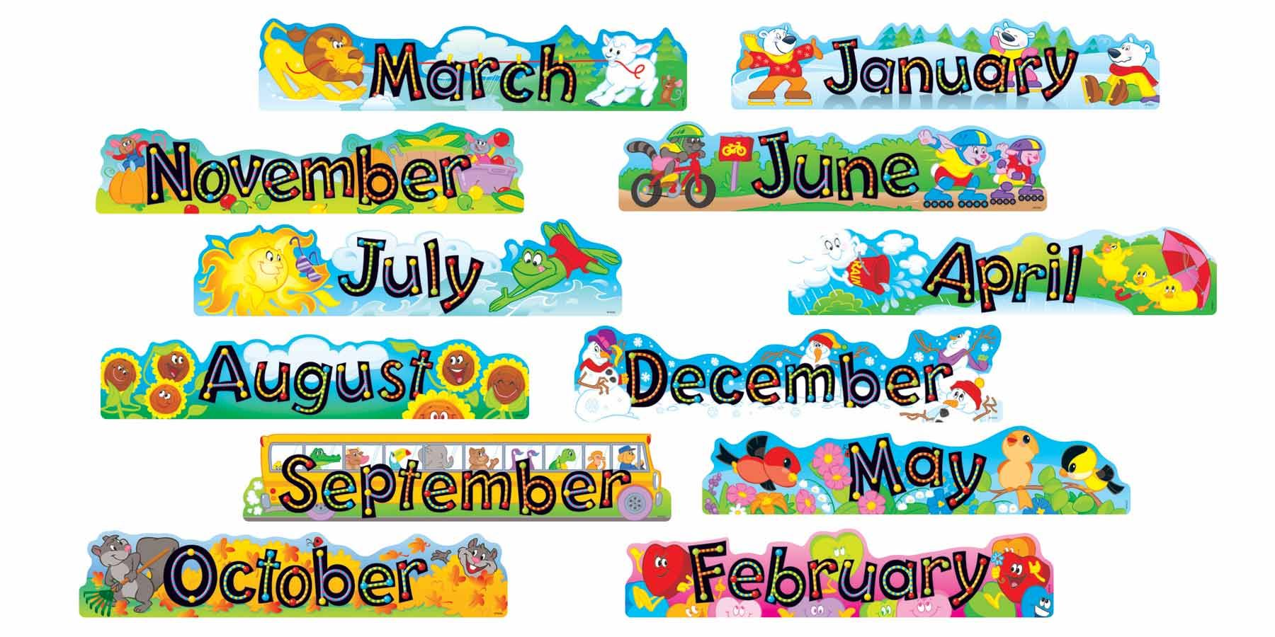 Alpha Beads 12 Monthly Headers Classroom Display Banner Set