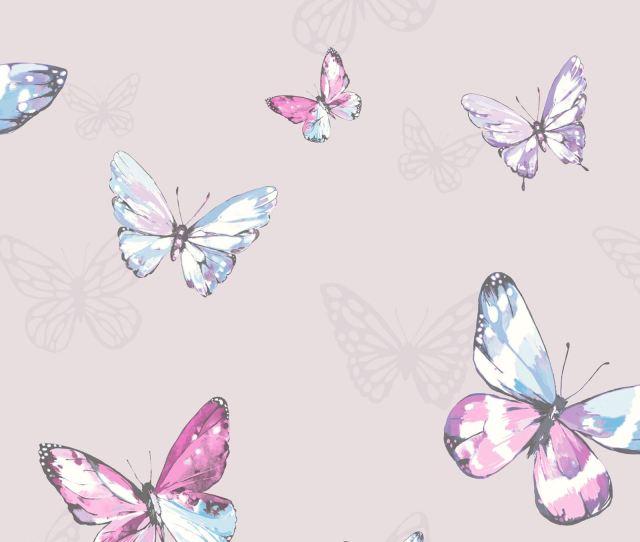 Butterfly Wallpaper Girls Bedroom Decor Pink White Teal Purple Glitter Metallic