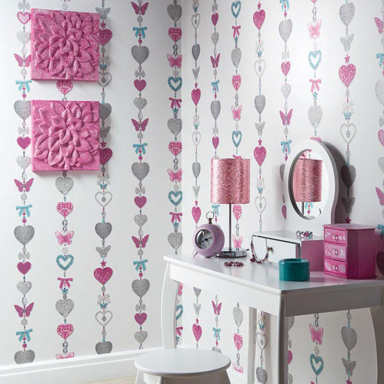Girls Wallpaper Bedroom Decor Glitter Unicorns Hearts