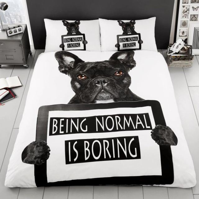 french bulldog duvet cover set black white print reversible - single