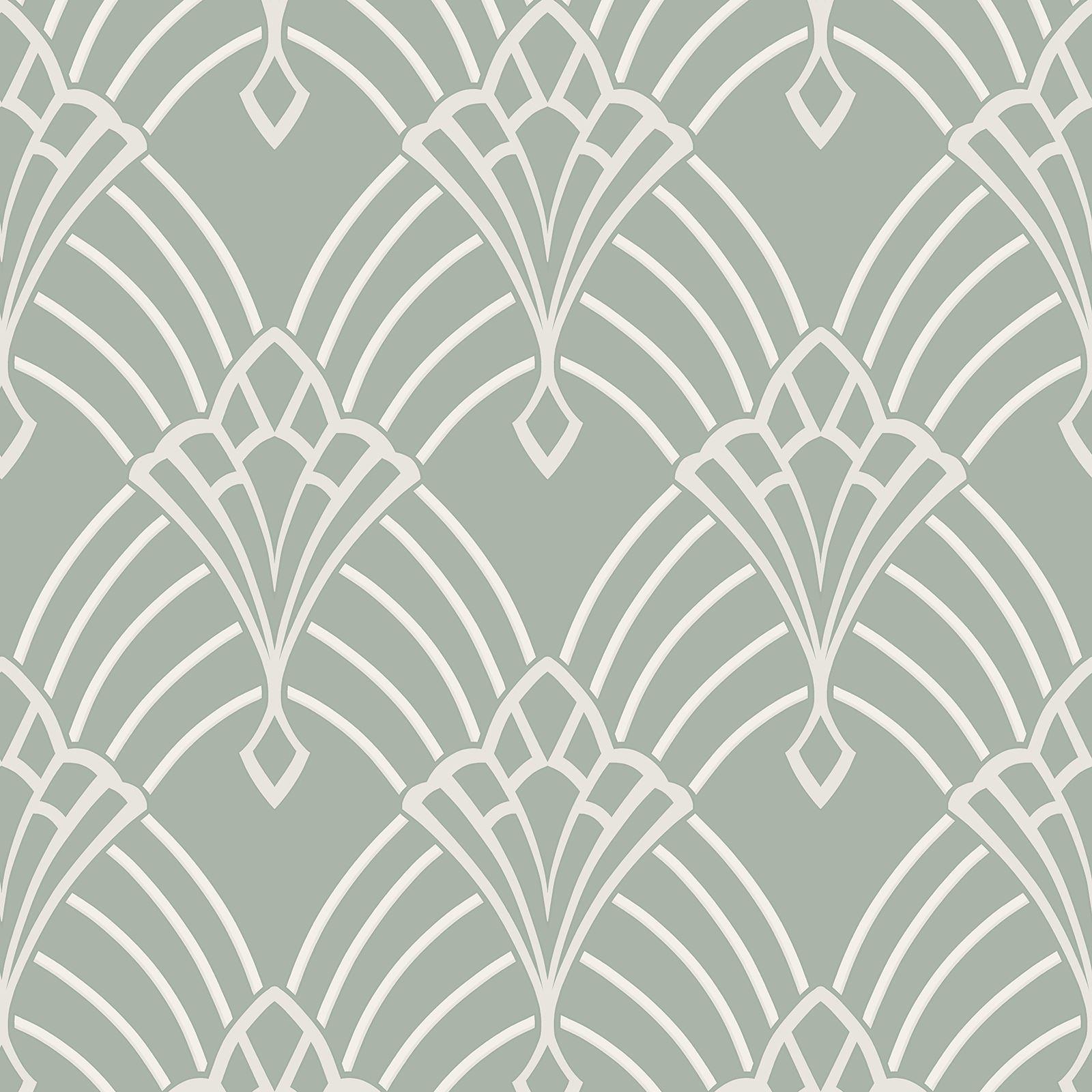 Rasch Astoria Art Deco Geometric Wallpaper Glitter Silver