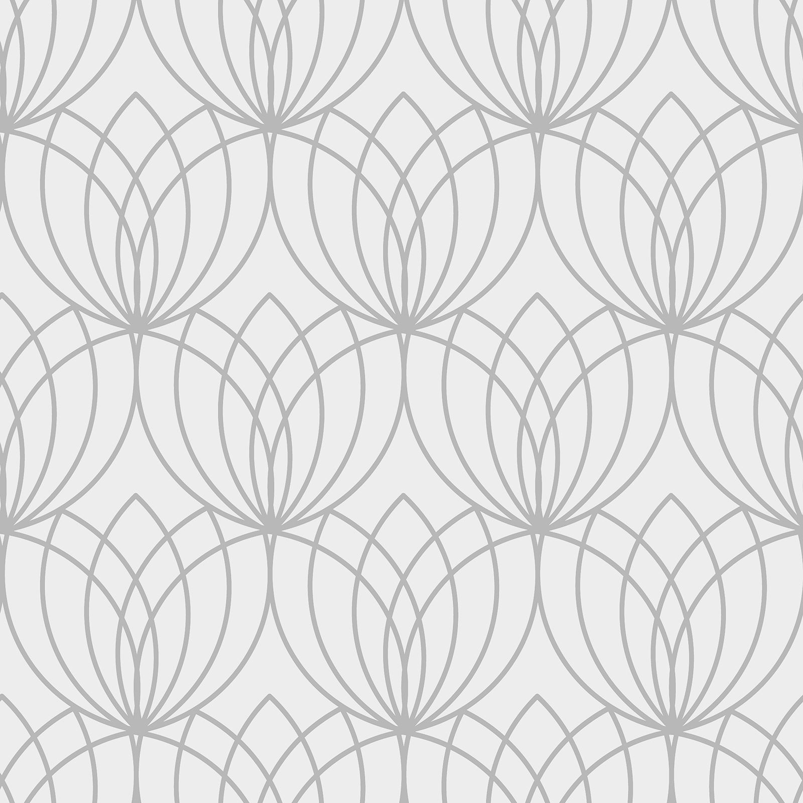 Lotus Geometric Wallpaper Silver