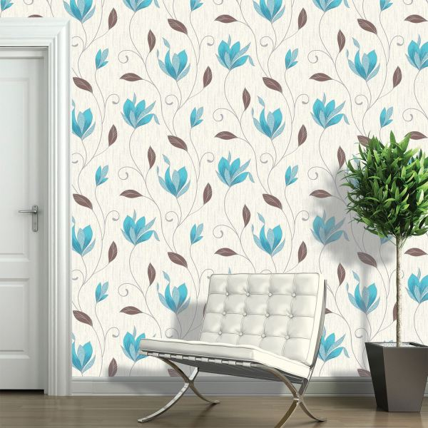 VYMURA SYNERGY TEAL & PLAIN WALLPAPER - STRIPE FLORAL ...