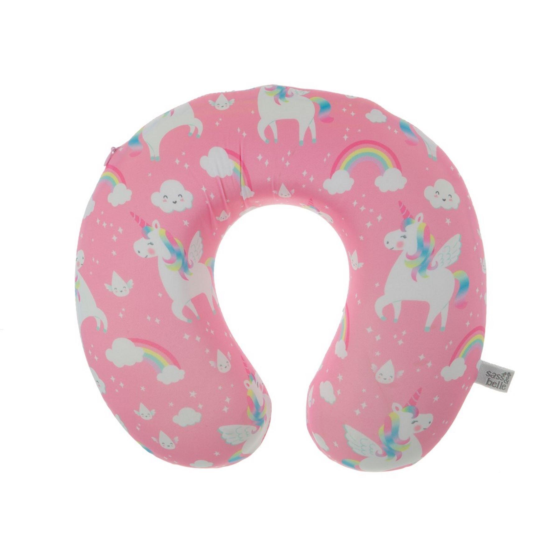 rainbow unicorn pink neck pillow u