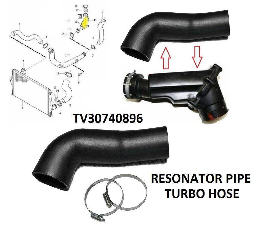 FOR VOLVO V70, S60, S80, XC90, XC70 D5 2.4D TURBO RESONATOR HOSE PIPE 30740896