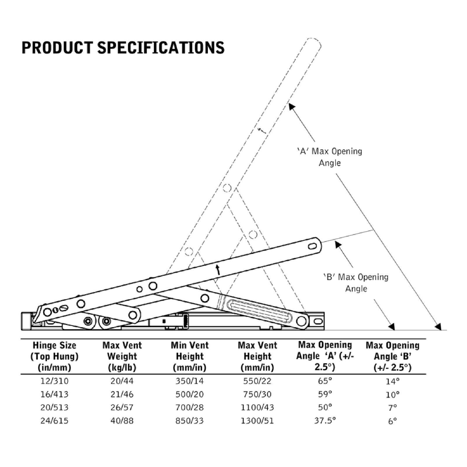 Pair Of Restrictor Friction Window Hinge 16 20 24 Top
