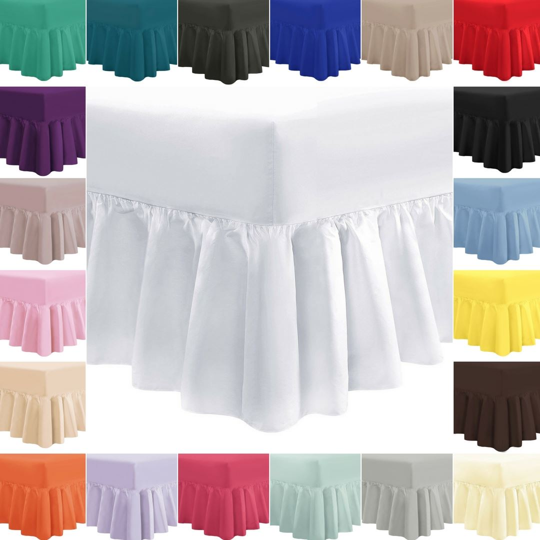 Plain Frilled Fitted Valance Sheet Cotton Blend Sheets