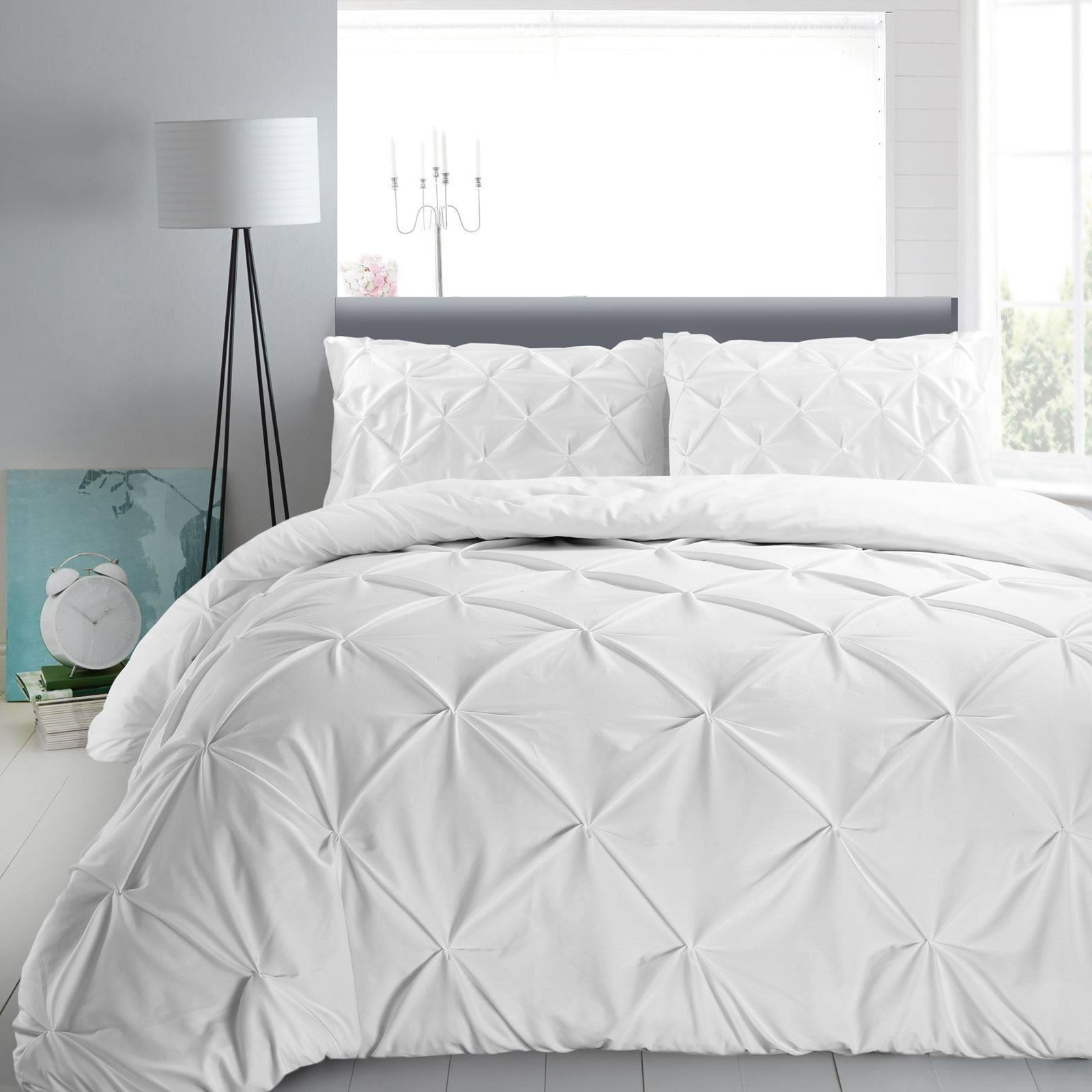 pintuck pleated duvet cover with pillowcase bedding set single double super king ebay